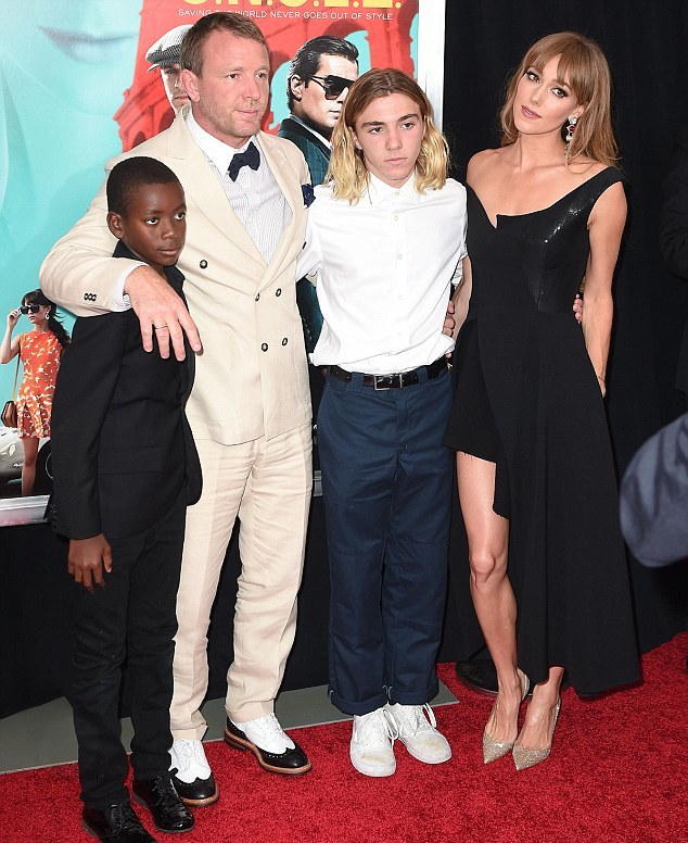 Guy with sons, David, 9, Rocco, 15, and new wife Jacquie Ainlsey, at The Man From U.N.C.L.E premiere in New York.