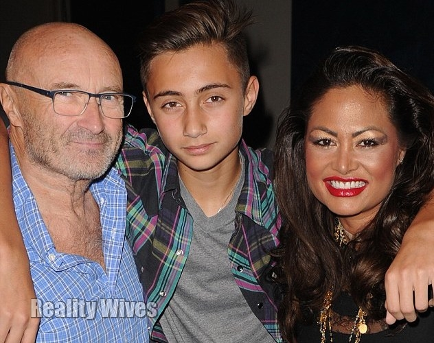 Phill Collins & Orianne Cevey with one of their sons Nicholas